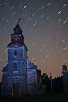 Free Star Trails Night Shot Church Stock Photos - 20574163