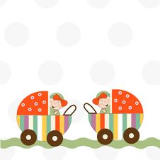 Free Baby Twins Announcement Card Stock Photo - 20576150