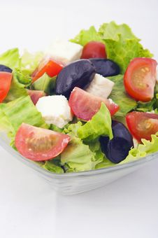 Salad With Tomato And Lettuce Stock Photos