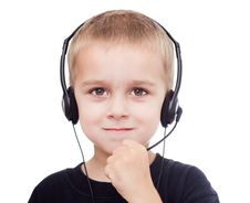Free Portrait Of Little Boy With Headphones Royalty Free Stock Images - 20576249