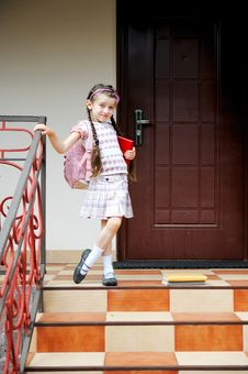 Young Girl With Pink Bagpack Ready For School Stock Photography
