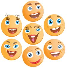 Free Seven Cheerful Smilies Stock Photography - 20576832