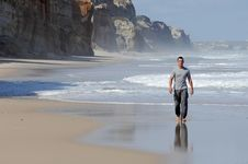 Free Latino Man Walking On A Beach Royalty Free Stock Photography - 20577037