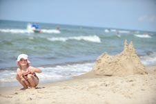 Girl  At Beach Royalty Free Stock Photography