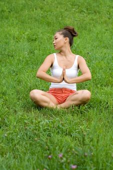 Free Girl Meditating On Meadow Royalty Free Stock Image - 20577986