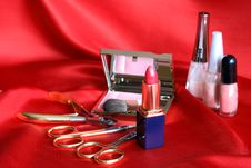 Free Makeup Set On Red Stock Photo - 20578160