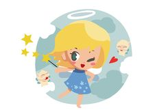 Free Little Angel With Little Elf - Vector Stock Photography - 20578502