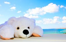 Free White Teddy Bear In The Sky Royalty Free Stock Images - 20578699