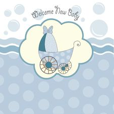 Baby Shower Announcement Card With Pram Royalty Free Stock Images