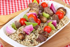 Beef And Vegetable Kabobs Royalty Free Stock Images