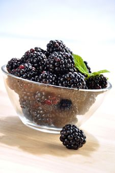 Blackberries In A Glass Bowl Stock Photo