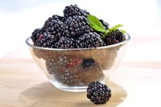 Blackberries In A Glass Bowl Royalty Free Stock Image