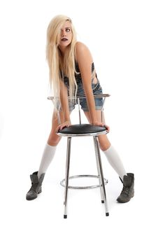 Free Beautiful Young Blonde Female With Stool Royalty Free Stock Photo - 20579395