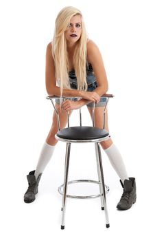 Free Beautiful Young Blonde Female With Stool Stock Image - 20579401