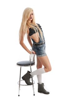 Free Beautiful Young Blonde Female With Stool Royalty Free Stock Image - 20579406