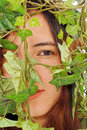 Free Girl Hiding Behind Ivy Stock Photo - 20581760