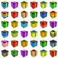 Free Many Colorful Gift Boxes Collection With Ribbon Stock Images - 20588274