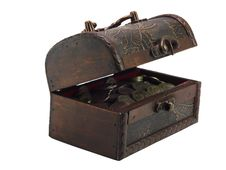 Free The Antiquarian, Wooden  Opened Chest With Coins Stock Image - 20580591