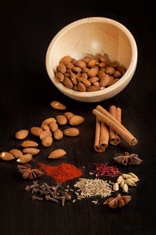 Almond And Mix Of The Spices Royalty Free Stock Photo