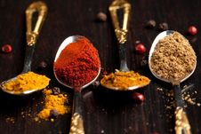 Free Set Of Spices In Teaspoons Stock Image - 20580741