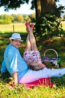 Middle Aged Couple Enjoying Picnic Royalty Free Stock Image