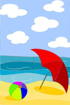 Free Beach Beauty Colorful Illustration - Vector Royalty Free Stock Photography - 20582727