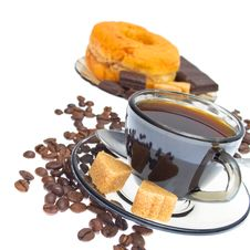 Free Italian Espresso Donut, Sugar  And Coffee Beans Royalty Free Stock Image - 20583276