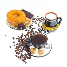 Free Italian Espresso Donut, Sugar  And Coffee Beans Royalty Free Stock Image - 20583306