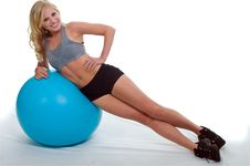 Free Beautiful Girl Exercising With A Ball Royalty Free Stock Photos - 20583408