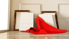 Blank Canvas With Red Cloth Royalty Free Stock Photos