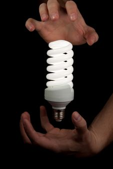 Free Floating Bulb Between Hands Stock Photos - 20583883