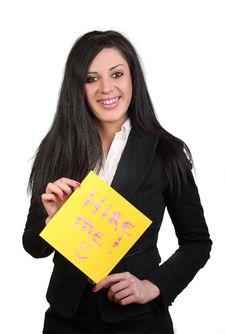 Free Business Woman And Text Message Hire Me Royalty Free Stock Photography - 20584397