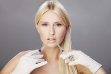 Blonde And Botox Injection Royalty Free Stock Photography