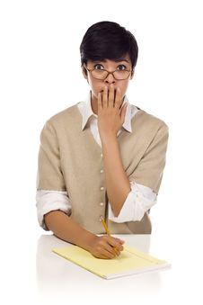 Shocked Mixed Race Young Adult Female Student Stock Photography