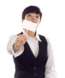 Free Mixed Race Young Adult Female Holding Blank Sign Stock Photos - 20586333