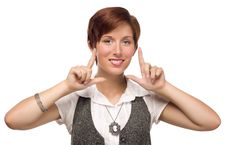 Pretty Young Adult Female Finger Framing Face Royalty Free Stock Photos