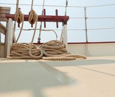 Free Coiled Rope Rigging On A Sailboat Deck. Stock Photos - 20586613