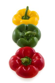Three Colorful Pepper Bell Tops Stock Images