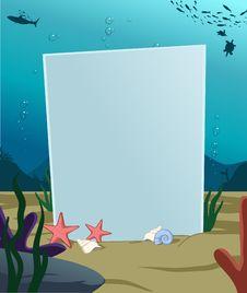Underwater Vertical Blank Board Stock Image