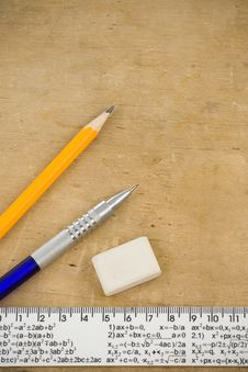 Pen, Pencil And Ruler On Wood Stock Photo