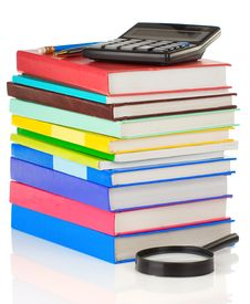 Free Pile Of Books And Pens On White Stock Photography - 20588102