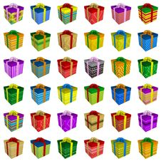 Free Many Colorful Gift Boxes Collection With Ribbon Royalty Free Stock Photos - 20588308