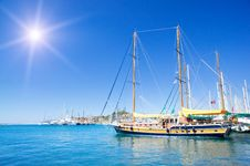 Free Wonderful Yacht In Blue Bay Near Bodrum Town. Stock Photos - 20588453