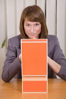 Free Thinking Businesswoman With File Card Holder Stock Images - 20588564