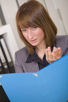 Woman Discussing With File Stock Photo