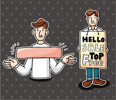 Free Set Of Man With Banner Royalty Free Stock Images - 20588949