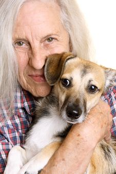 Free Senior Woman With Cute Puppy Royalty Free Stock Image - 20589376