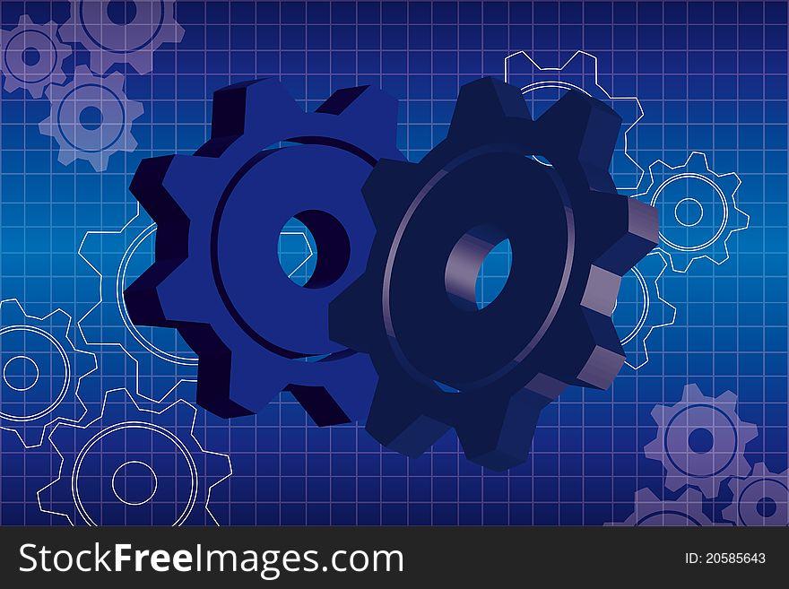 Blue gears background