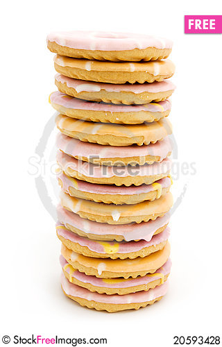 Free Tower Of Iced Biscuits Over White Royalty Free Stock Photos - 20593428