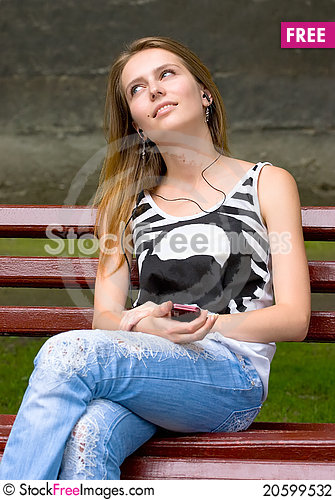 Free Girl Is Listening Mp3 Stock Photography - 20599532